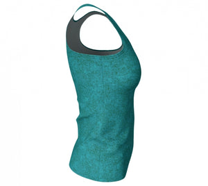 fitted tank - teal - zen style - side view - ColorUpLife