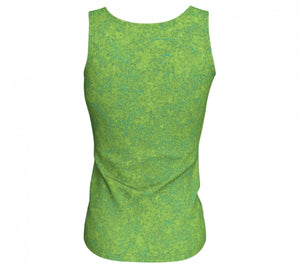 fitted tank - chartreuse with teal - zen style - back view - ColorUpLife