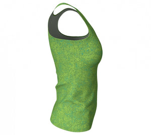 fitted tank - chartreuse with teal - zen style - side view - ColorUpLife