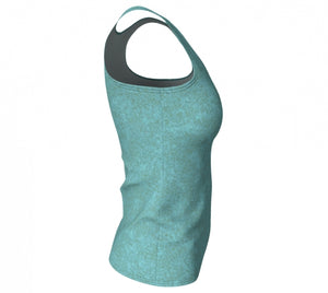 fitted tank - smokey teal - zen style - side view - ColorUpLife