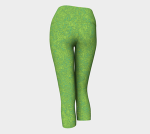 Yoga Capris - Compression Fit - Chartreuse with Teal - Zen