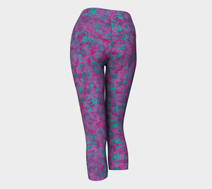 Yoga Capris - Compression Fit - Plum - Watercolor Circles