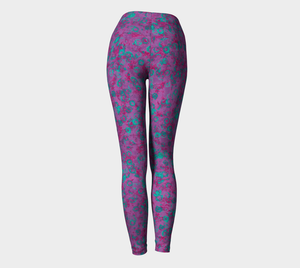 Yoga Leggings - Compression Fit - Watercolor Circles - Plum
