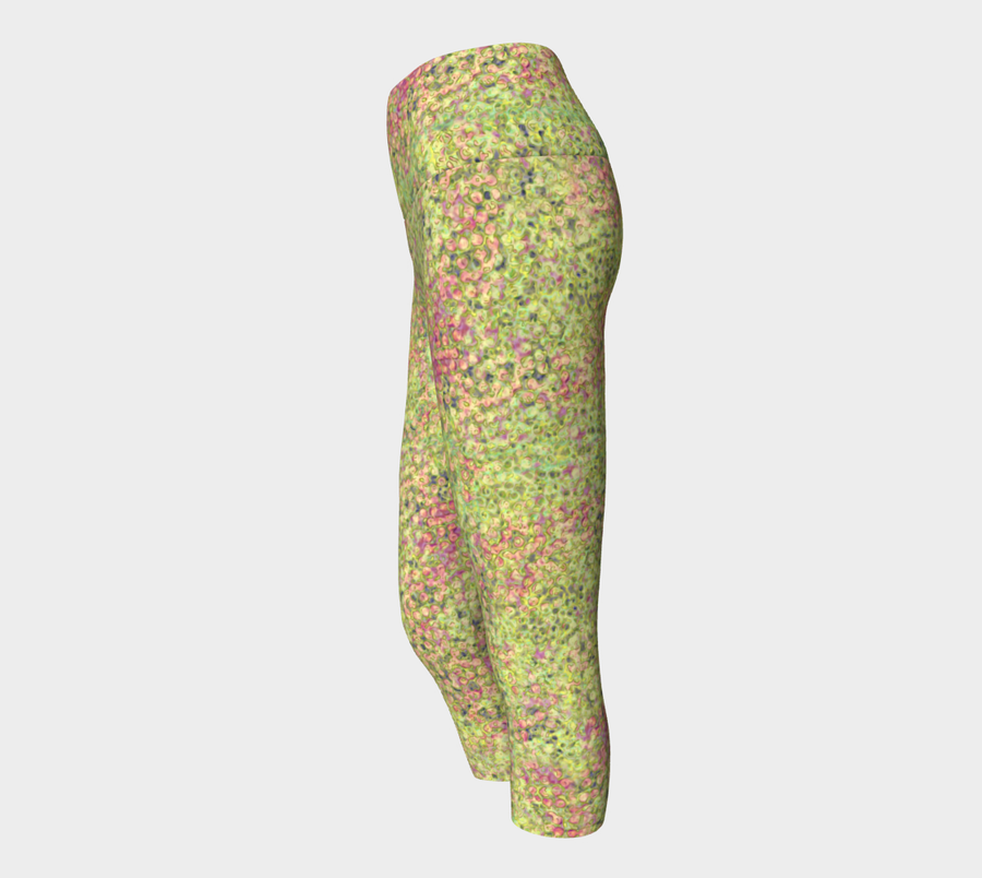 yoga capris - green - sweet pea style - front view with swatch - ColorUpLife