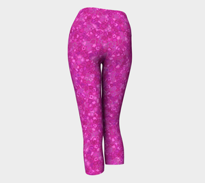 Yoga Capris - Compression Fit - Pink - Cherry Blossoms