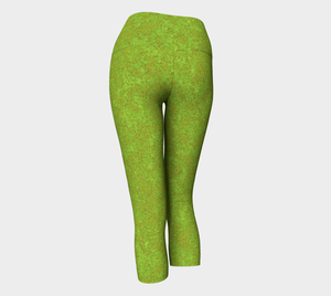Yoga Capris - Compression Fit - Chartreuse with Bronze - Zen