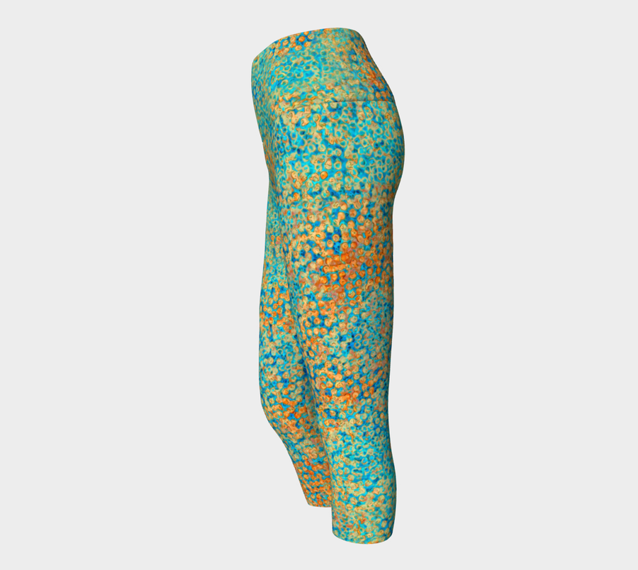 yoga capris - turquoise - sweet pea style - front view with swatch - ColorUpLife