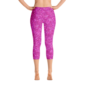 capri leggings - pink - cherry blossoms pattern - back view - ColorUpLife