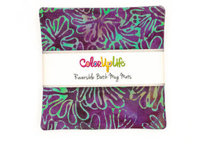 Batik Mug Mats - Purple/Teal