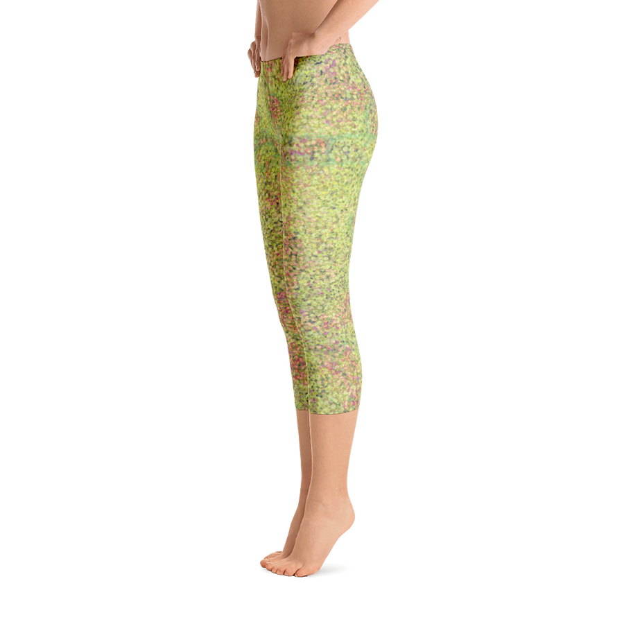 capri leggings - green - sweet pea style - front view with swatch - ColorUpLife