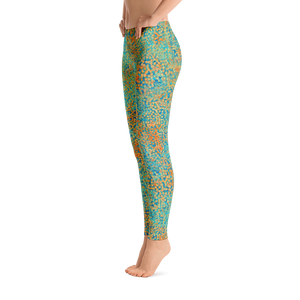 leggings - turquoise - sweet pea style - side view – ColorUpLife