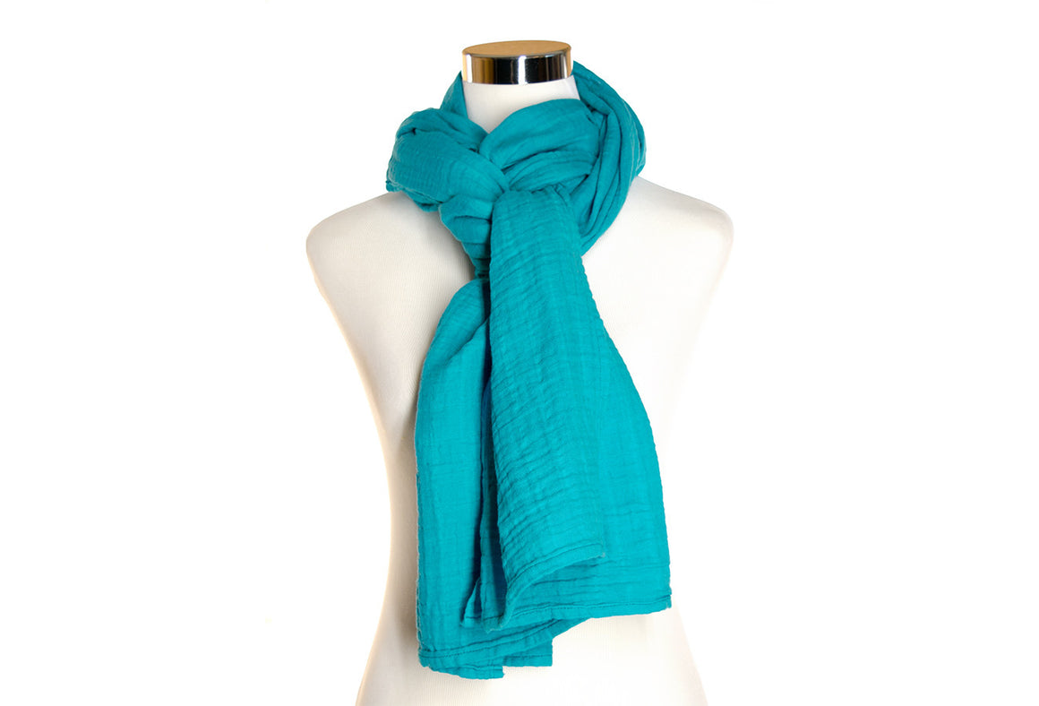 cotton double gauze scarf - turquoise - ColorUpLife
