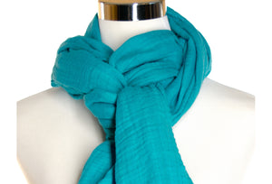 cotton double gauze scarf close-up - turquoise - ColorUpLife