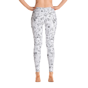 leggings - black and white - watercolor circles style - back view – ColorUpLife