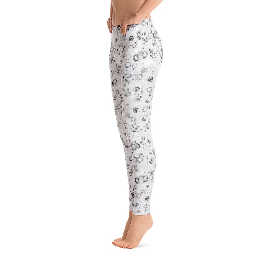leggings - black and white - Watercolor Circles style - front view with swatch – ColorUpLife