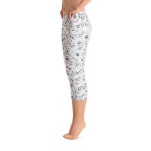 capri leggings - black and white - watercolor circles style - side view - ColorUpLife