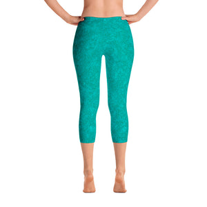 capri leggings - teal - zen style - back view - ColorUpLife