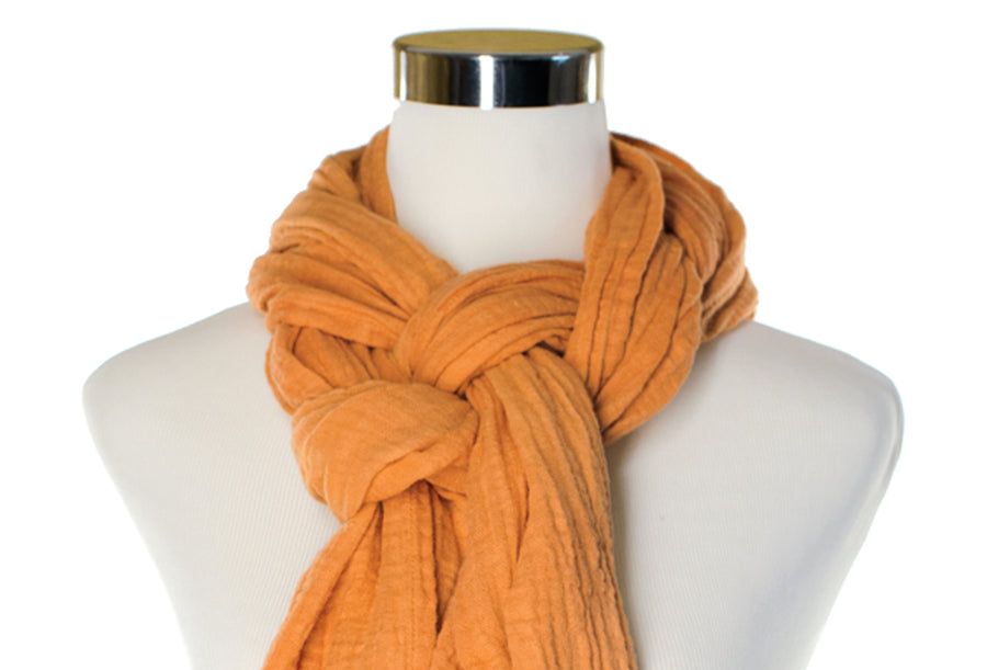 Apricot Cotton Double Gauze Scarf by ColorUpLife