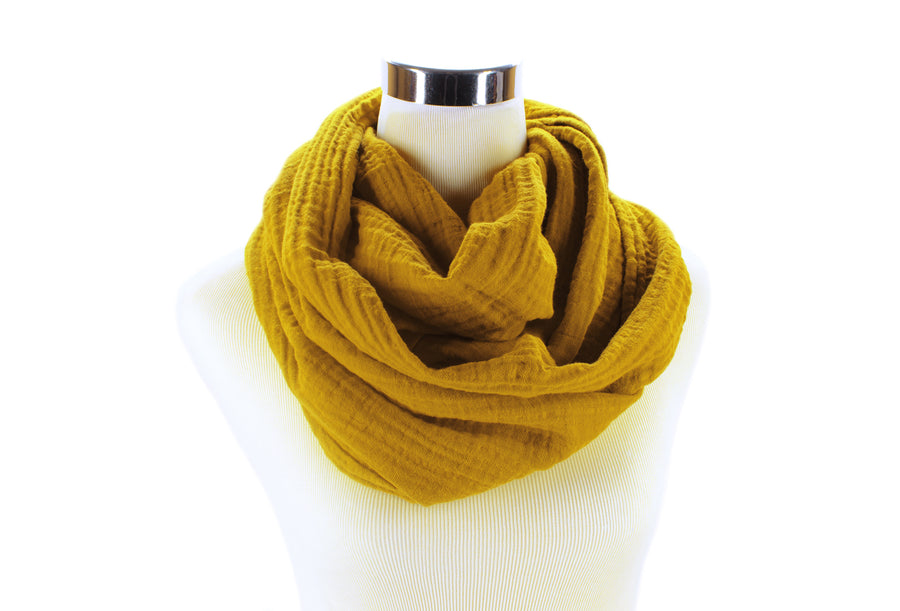 Autumn Gold Cotton Double Gauze Infinity Scarf by ColorUpLife