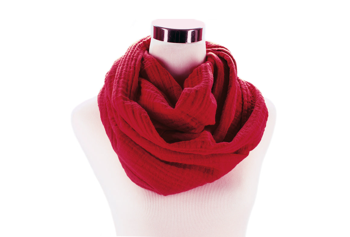 Autumn Red Cotton Double Gauze Infinity Scarf by ColorUpLife