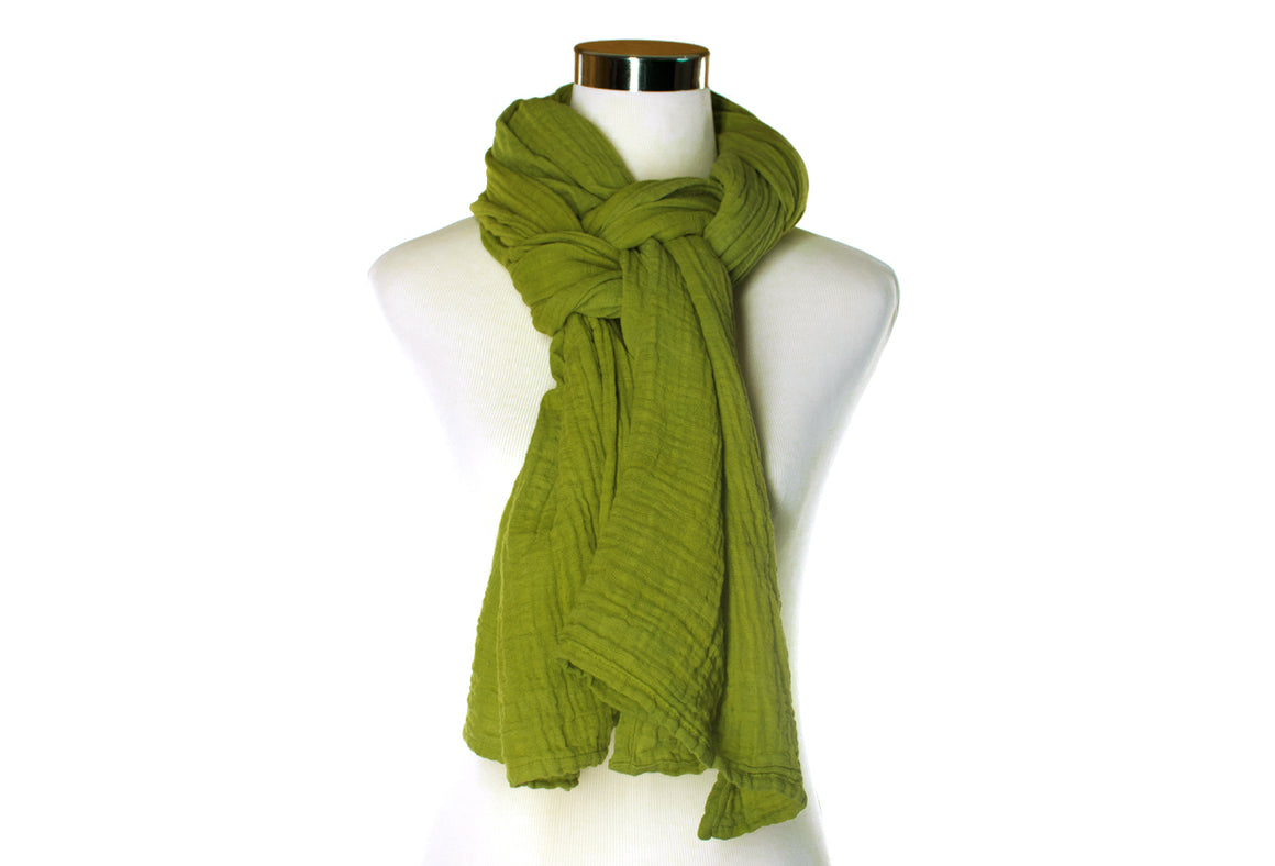Avocado Cotton Double Gauze Scarf by ColorUpLife