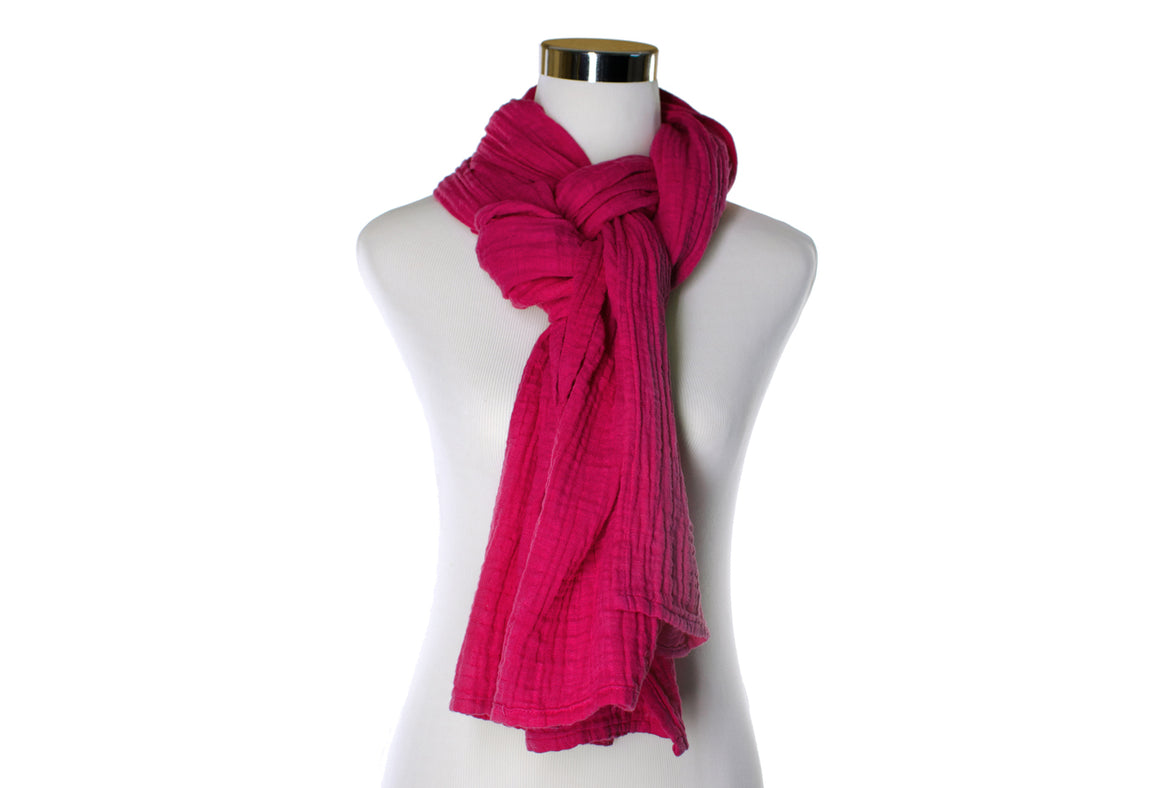 Hand-dyed Cotton Scarf - Magenta