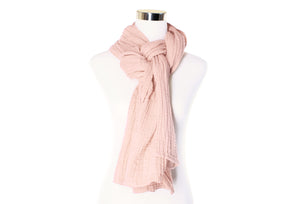 cotton double gauze scarf - barely pink - ColorUpLife