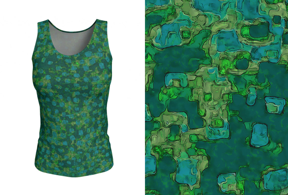fitted tank - teal - be square style - front view with swatch - ColorUpLife