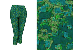capri yoga leggings - teal - be square style - front view with swatch - ColorUpLife