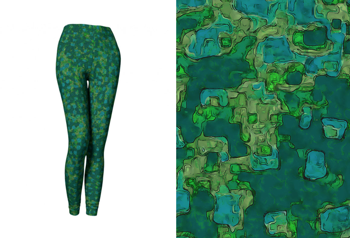 yoga leggings - teal - be square style - front view with swatch - ColorUpLife