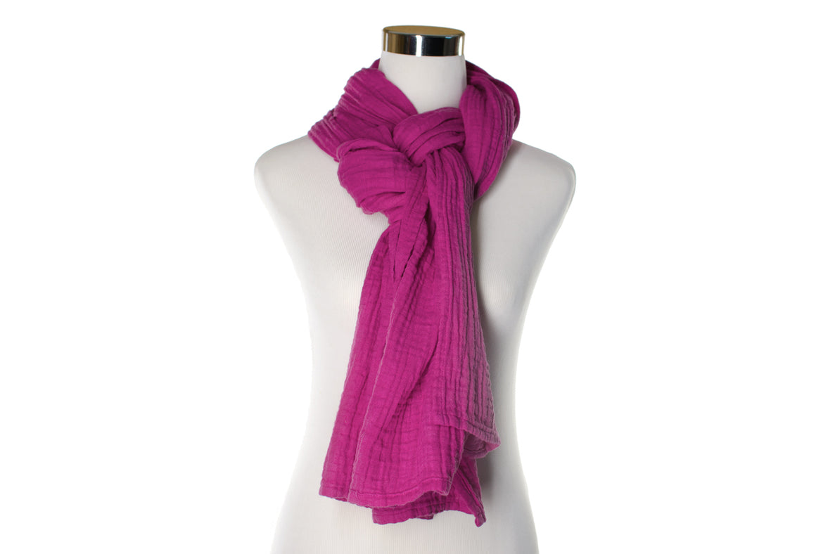 cotton double gauze scarf - berry - ColorUpLife