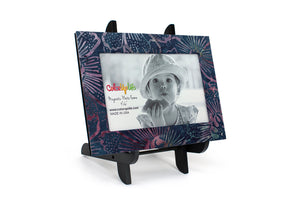 Blue Floral Magnetic Picture Frame Displayed on a Decorative Easel by ColorUpLife