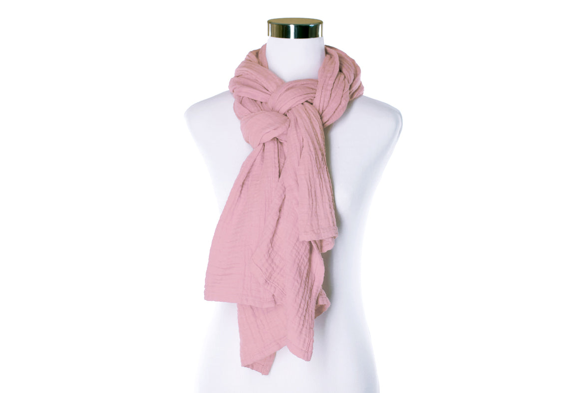 cotton double gauze scarf - blush - ColorUpLife