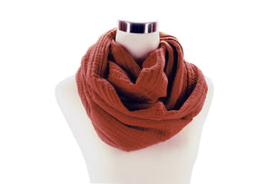 Brick Red Cotton Double Gauze Infinity Scarf by ColorUpLife