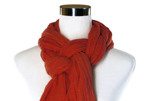 Burnt Orange Cotton Double Gauze Scarf by ColorUpLife