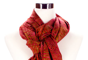 batik scarf closeup - burnt red - ColorUpLife