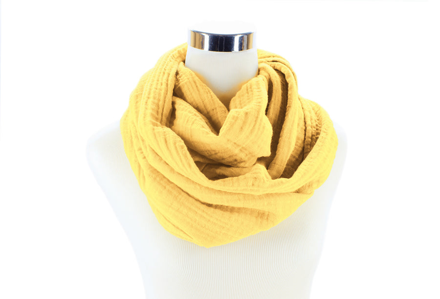 Buttercup Cotton Double Gauze Infinity Scarf by ColorUpLife