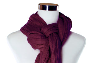 cotton double gauze scarf close-up image - cabernet - ColorUpLife