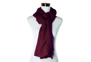 cotton double gauze scarf - cabernet - ColorUpLife