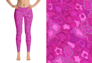 capri leggings - pink - cherry blossoms pattern - front view and swatch - ColorUpLife