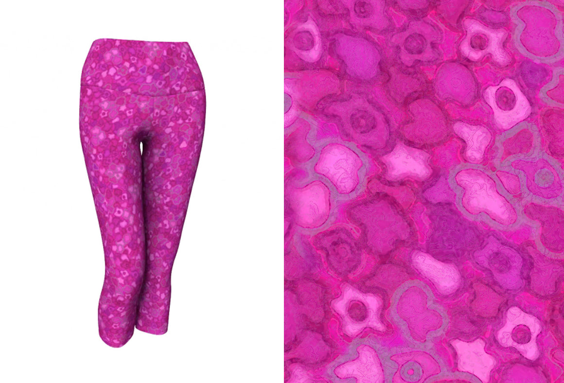 yoga capris - pink - cherry blossoms style - front view with swatch - ColorUpLife
