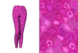yoga leggings - pink - cherry blossoms style - front view with swatch - ColorUpLife