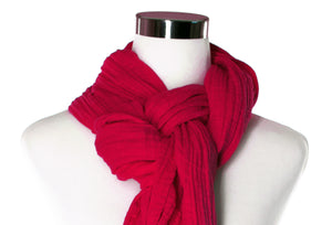 cotton double gauze scarf close-up image - cherry red - ColorUpLife