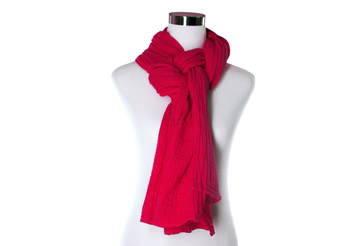 cotton double gauze scarf - cherry red - ColorUpLife