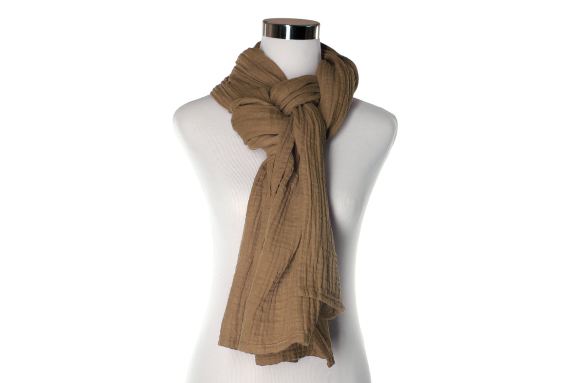 Cocoa Cotton Double Gauze Scarf by ColorUpLife