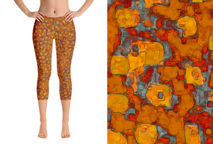 capri leggings - copper - be square style - front view with swatch - ColorUpLife
