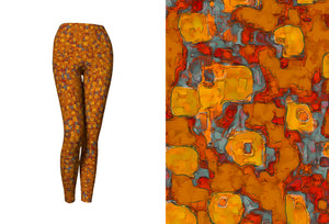 capri yoga leggings - copper - be square style - front view with swatch - ColorUpLife
