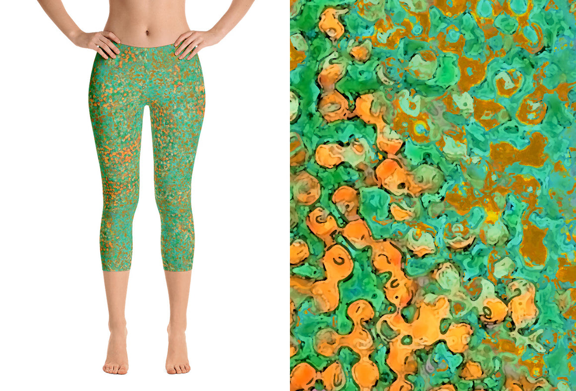 capri leggings - green - reef style - front view with swatch - ColorUpLife