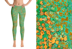 leggings - green - reef style - front view with swatch – ColorUpLife