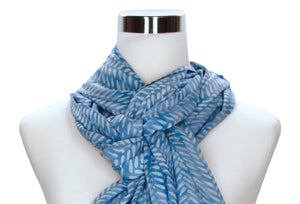 batik rayon scarf close-up image - cornflower blue - ColorUpLife